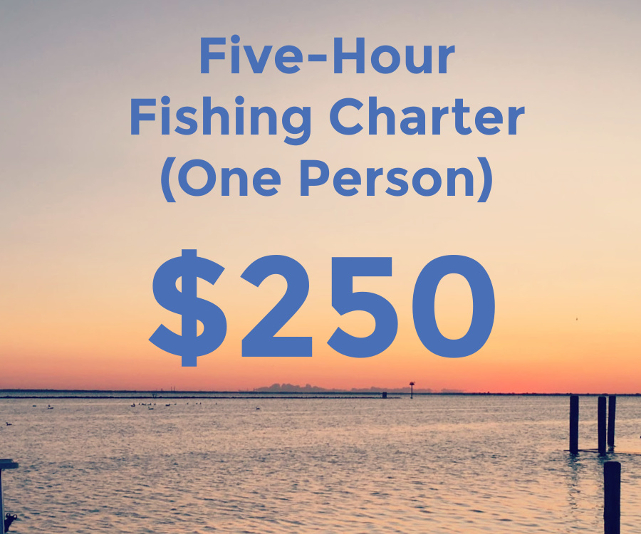 five hour fishing charter for one person